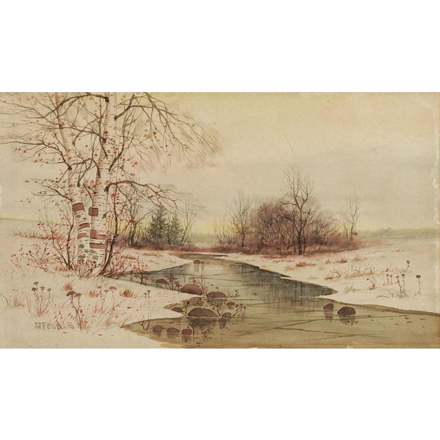 J J Francis Watercolor Landscape Painting For Sale - Image 4 of 4