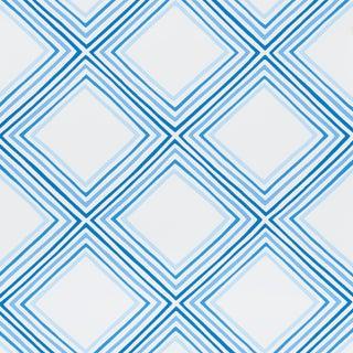 Sample - Schumacher X Vera Neumann Square Dance Wallpaper in Blue For Sale