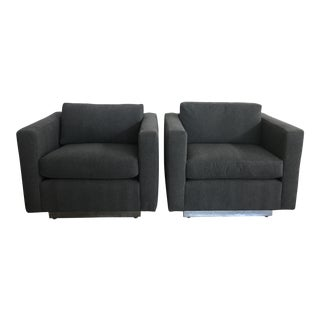1970s Mid-Century Modern Gray Upholstered Club Chairs - a Pair