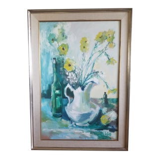Floral Still Life Acrylic Painting by Lubell For Sale