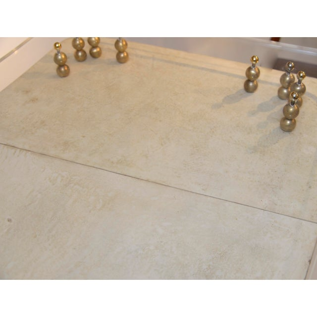 Brass Parchment Covered and Perspex 1950's Desk For Sale - Image 7 of 9