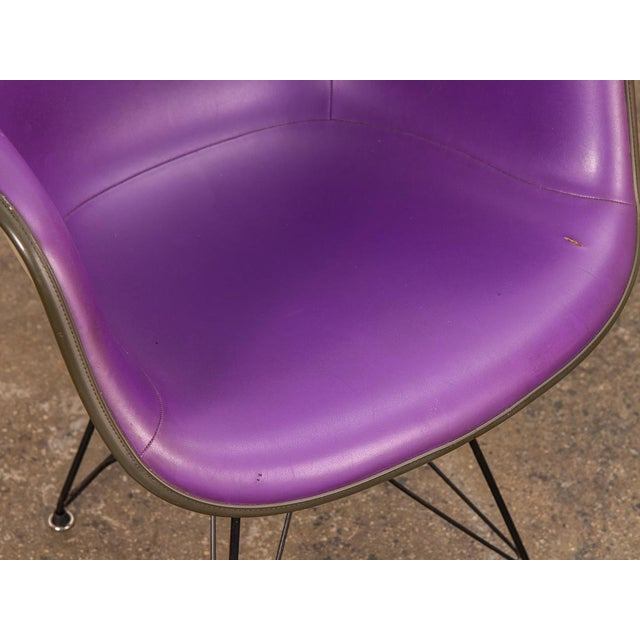 Purple Eames Padded Armshell Chair on Black Eiffel Base for Herman Miller For Sale In New York - Image 6 of 9