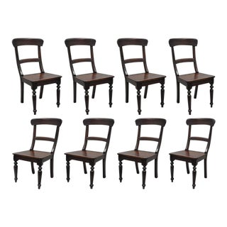 Crate & Barrel Wood Farmhouse Dining Chairs - Set of 8 For Sale