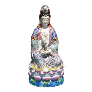 Vintage Satsuma Porcelain Asian Qwan Yin Statue For Sale
