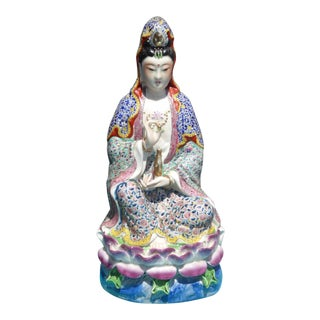 Vintage Satsuma Porcelain Asian Qwan Yin Statue