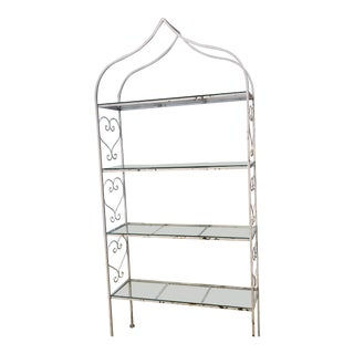 Etagere -Metal With Glass Shelves For Sale