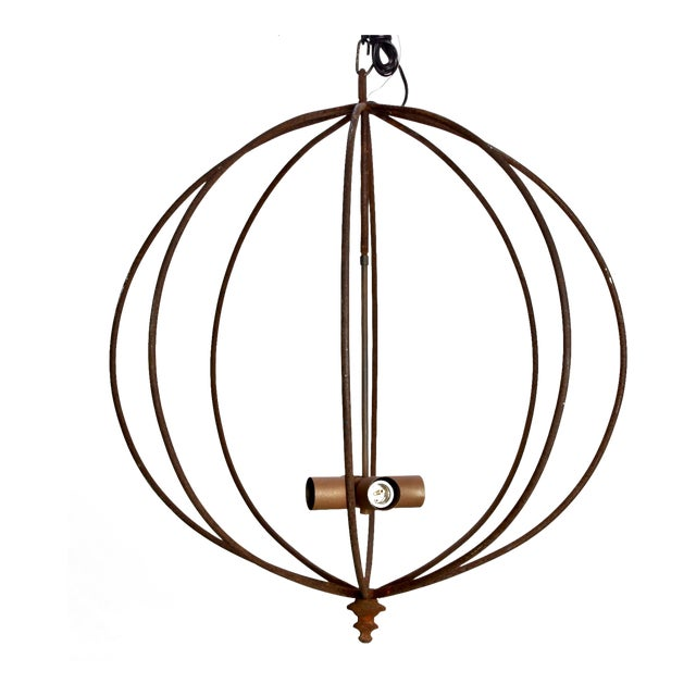 Mid Century Iron Sphere Light Fixture For Sale