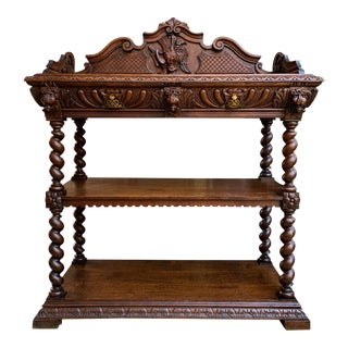 19th Century French Carved Oak Hunt Server Sideboard Barley Twist Renaissance Cabinet For Sale
