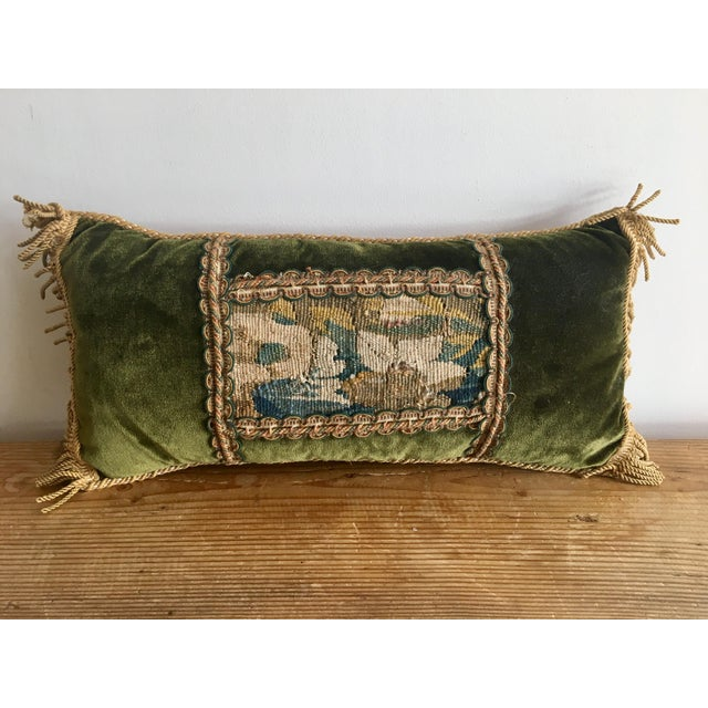 Vintage Traditional Forest Green Velvet Lumbar Pillow With Abusson Tapestry Panel For Sale In Los Angeles - Image 6 of 6