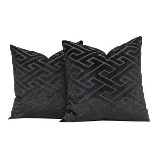 """Pair of Custom 22"""" Grey Fretwork Cut Velvet Pillows For Sale"""