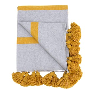 Moroccan Grey and Honeysuckle Cotton Pom Pom Blanket For Sale