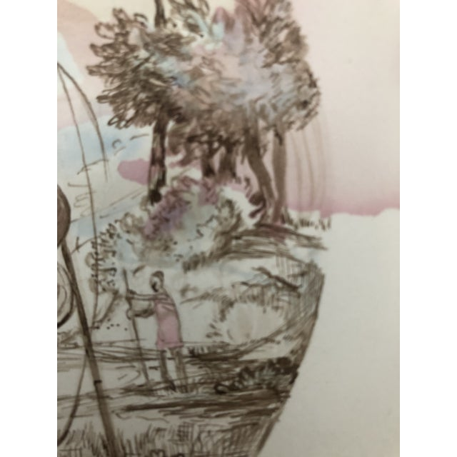 Figurative Figurative Sporting Watercolor by William Palmer, 1940 For Sale - Image 3 of 7