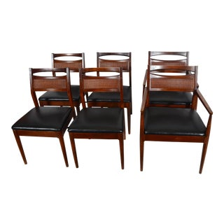 American of Martinsville Mid Century Modern Walnut Dining Chairs - Set of 6 For Sale