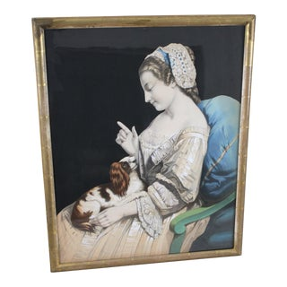 Mid-Late 19th Century Hand-Tinted Lithograph of Girl and Cavalier King Charles Spaniel For Sale