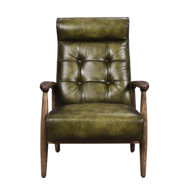 Green Leather U0026 Oak Club Chair