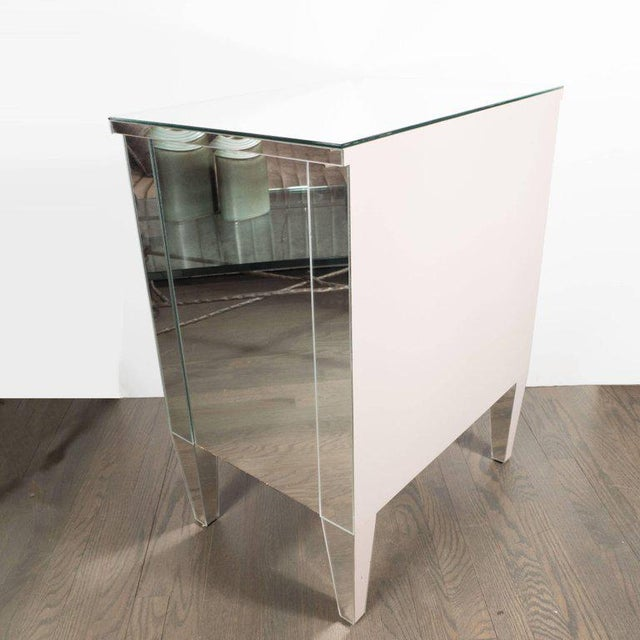 2010s Contemporary Directoire Style Custom Mirrored Nightstands with Three Drawers - a Pair For Sale - Image 5 of 10