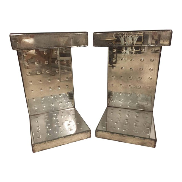 Art Deco Style Bulls-Eye Mirrored Lamp, Side Tables or Pedestals - a Pair For Sale