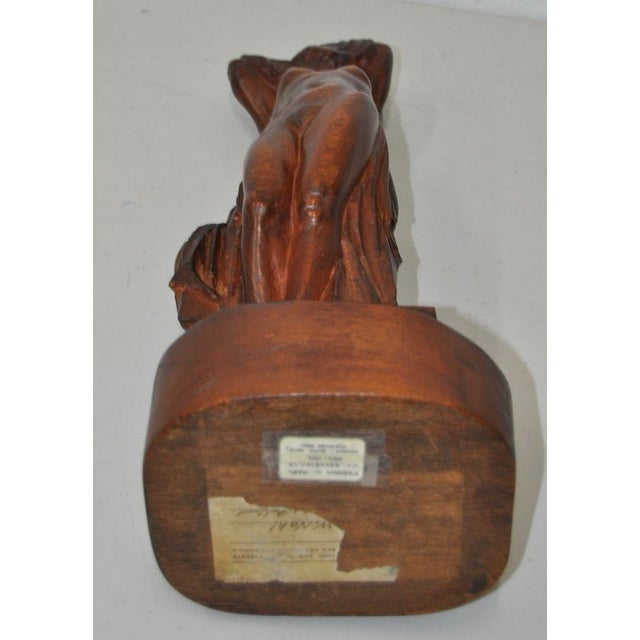 Wood Art Nouveau Figural Nude w/ Laughing Buddha Sculpture by Perham Nahl c.1910 For Sale - Image 7 of 8