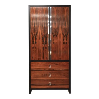 Rosewood and Chrome Armoire Dresser For Sale