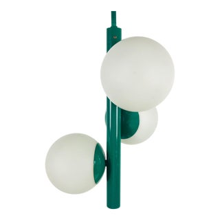 1960s Mid-Century Modern Green Metal and Opaline Glass Pendant Lamp by Kaiser Leuchten, Germany For Sale
