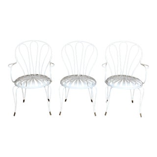 1930s Vintage French Art Deco Francois Carre White and Gold Sunburst Garden Chairs - Set of 3 For Sale