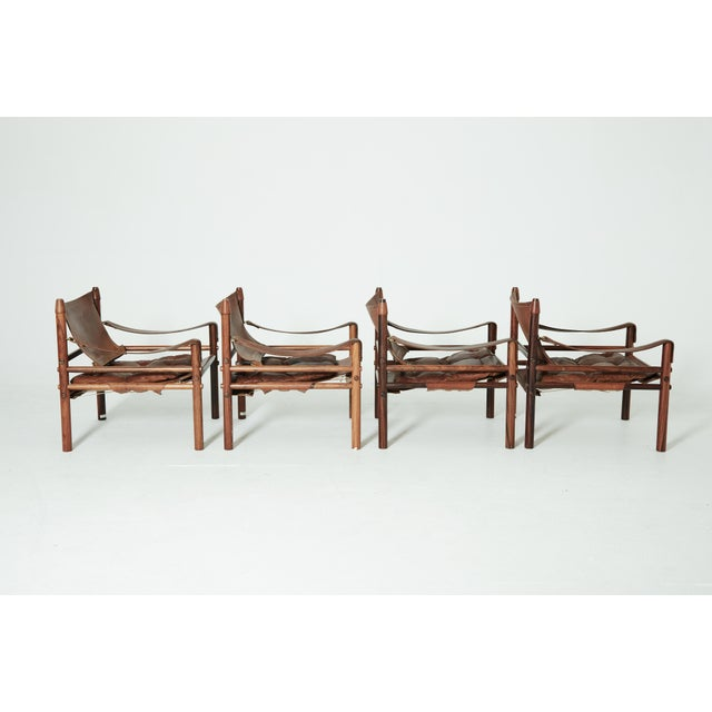 Rare Set of Four Arne Norell Safari Sirocco Chairs, Sweden, 1960s For Sale - Image 9 of 13
