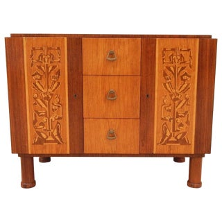 1920 Art Deco Erik Chambert Inlaid Chest For Sale