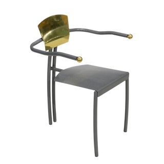 1980s Vintage Sculptural Memphis Style Arm Chair For Sale