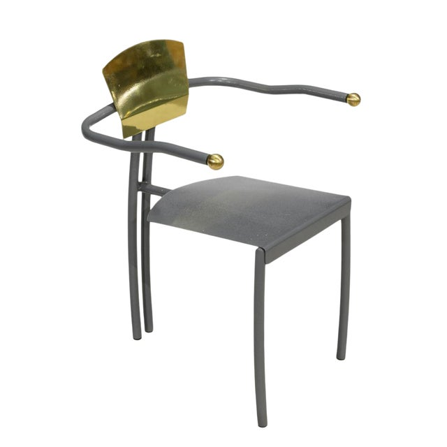 1980s Vintage Sculptural Memphis Style Arm Chair For Sale