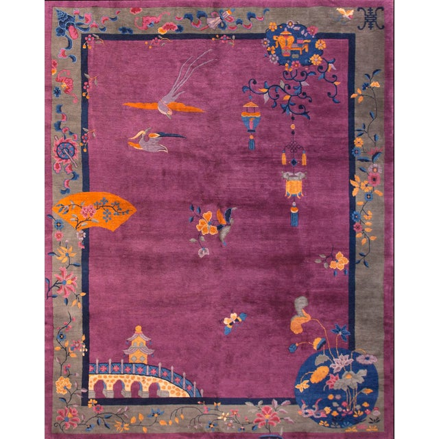 Purple 1920s Antique Chinese Art Deco Rug-9′2″ × 11′8″ For Sale - Image 8 of 8