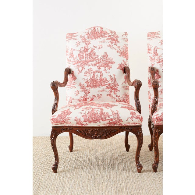 Pair of French Provincial Style Walnut Toile Fauteuil Armchairs For Sale - Image 4 of 13