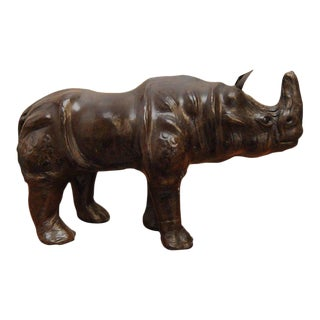 Mid-Century Leather Wrapped Rhino Sculpture For Sale