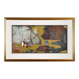 Framed Print of Asian Six-Panel Landscape Screen For Sale