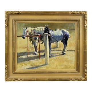 """""""Two Ponies"""" Oil Painting on Panel by Harold Stack For Sale"""