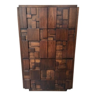 Lane Brutalist Patchwork Tall Chest For Sale