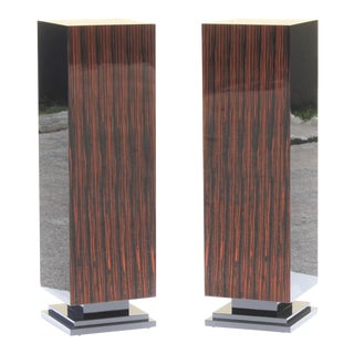 Monumental Pair of French Art Deco Exotic Macassar Ebony Pedestals Circa 1940s.
