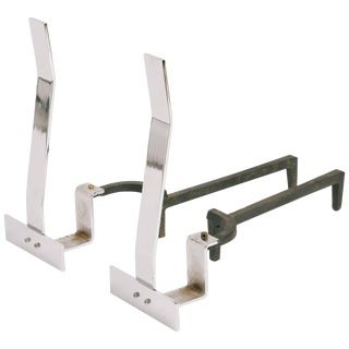 1960s Minimalist Flat Bar Steel Andirons For Sale