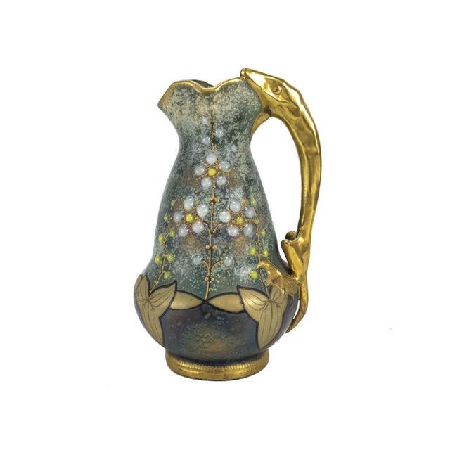 1900 Vintage Amphora Austria Gris Bijoux Jeweled Salamander Handle Ewer - Image 2 of 5