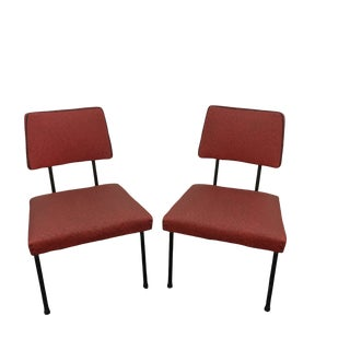 Vintage Mid Century Vinyl Lounge Chairs- A Pair For Sale