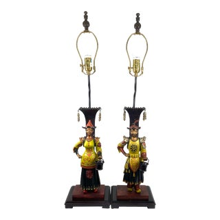 British Colonial Style Figural Lamps - Set of 2 For Sale
