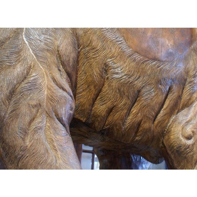 Large Carved Teak Elephant For Sale - Image 4 of 6