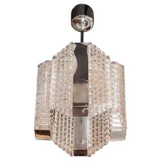 Mid-Century Modern Chrome and Textured Glass Pendant by Kaiser Leuchten For Sale