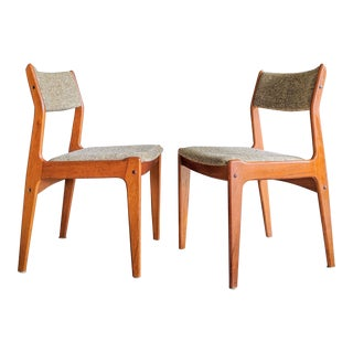 Teak Danish Modern Desk Dining Chairs, a Pair For Sale
