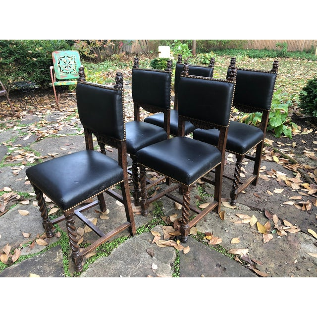 19th Century Carved Mahogany Jacobean Dining Side Chairs- Set of 5 For Sale - Image 13 of 13