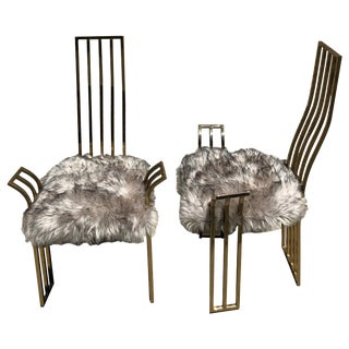 Pair of 1970s Brass Game Chairs Attributed to Pierre Cardin For Sale