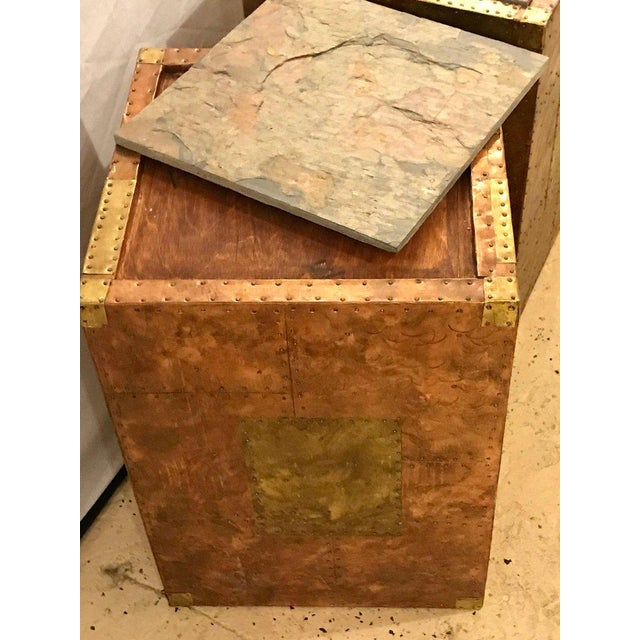 1970s Pair of Mid-Century Modern Paul Evans Inspired End Tables or Pedestals For Sale - Image 5 of 12