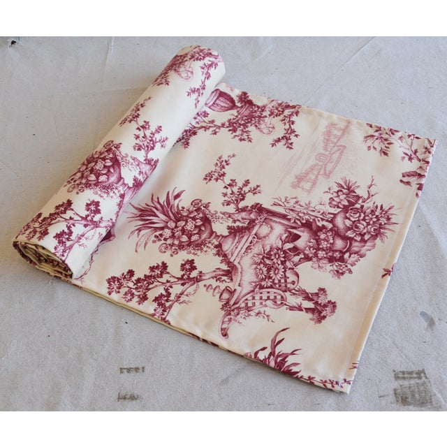 "Cotton Custom French Floral & Urn Toile Table Runner 110"" Long For Sale - Image 7 of 8"