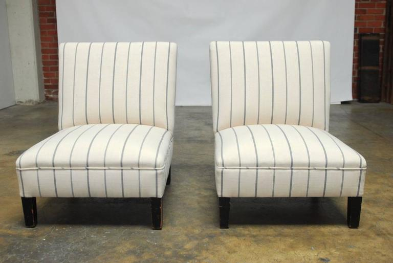 Perfect French Linen Striped Slipper Chairs   A Pair   Image 2 Of 10
