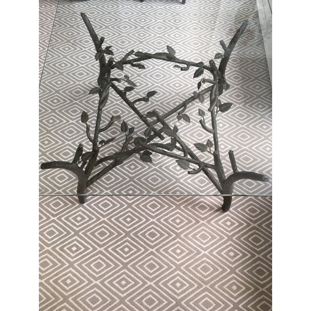Late 20th Century Alberto Giacometti Style Smoked Glass and Metal Coffee Table For Sale - Image 5 of 7