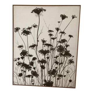 Mid Century Robert Bushong Sepia Silhouettes of Daffodils Screen Print on Canvas For Sale